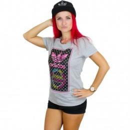 Adidas Frauen T-Shirt Tongue Label Dots grau