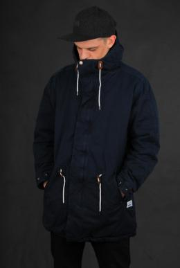Cleptomanicx Long Parka Dark Navy Wintermantel