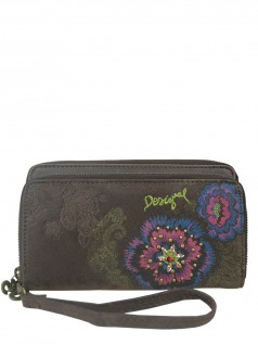 Desigual Damen Portemonnaies Two Levels Flower Diamond (braun)