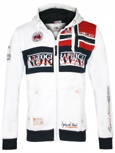 Geographical Norway Herren Zip Hoody Flyer (M) (weiß)