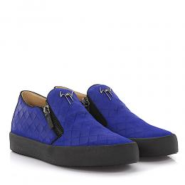 Giuseppe Zanotti Sneaker Connor Low Veloursleder blau finished Origamiprägung
