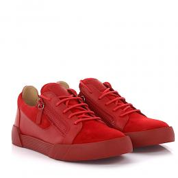 Giuseppe Zanotti Sneaker The Shark 5.0 Low Leder Veloursleder rot