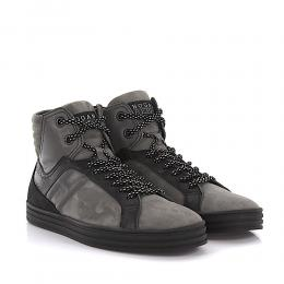 Hogan Rebel Sneakers High Top R141 Rebel Leder Veloursleder schwarz grau