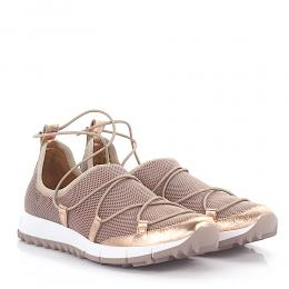 Jimmy Choo Sneakers Slip-On Andrea Stoff metallic Mesh rosé Leder rosé