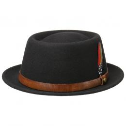 Livington Pork Pie Wollhut by Stetson  , Gr. XL (60-61 cm), Fb. schwarz