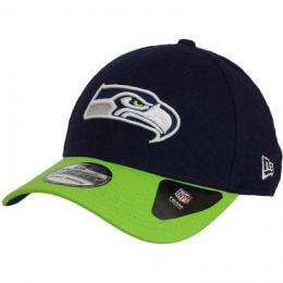 New Era 39Thirty Fitted Cap Team Melton Seattle Seahawks dunkelblau/grün