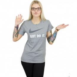 Nike Damen T-Shirt Crew Just Do It Swoosh grau/schwarz