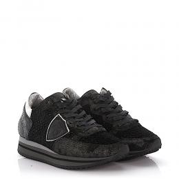 Philippe Model Keilsneakers Tropez Higher Stoff schwarz Leder Veloursleder schwarz finished