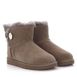 Stiefeletten MINI BAILEY BUTTON BLING Kalbsleder  Veloursleder Finished Schmuckstein Strass taupe