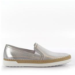 Tod's Sneakers Slip On Leder silber finished Baumwolle beige