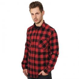 Urban Classics Hemd lang Checked Flanell schwarz/rot