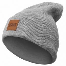 Urban Classics Leatherpatch Long Beanie grau